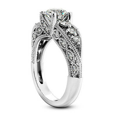 1 CT Enhanced D/SI Round Cut Diamond Engagement Ring 14k White Gold