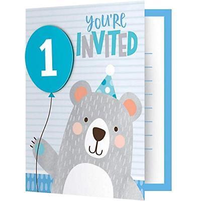 1st Birthday Bear Party Supplies Invitations 8ct.(E) (E Birthday Invitations)