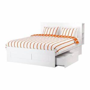 Ikea Brimnes double bed, with storage drawers & headboard - white Lindfield Ku-ring-gai Area Preview