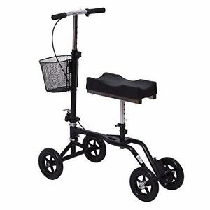 Adjustable Knee Walker/Steerable Medical Scooter w/ Brake Basket Medical knee walker