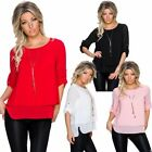 3/4 Sleeve Tops & Blouses for Women with Chain