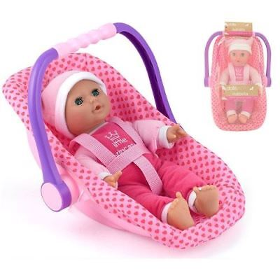 "Dolls World Baby Isabella 12"" Softbodies Doll With Rocking Car Seat"