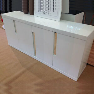 modern credenza cabinet high gloss lacquered white
