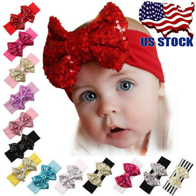 12PCS Baby Headband Girl Sequined Bow Head Hair Band Christmas Headwear Turban