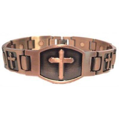 ARTHRITIS MEN'S CROSS COPPER MAGNETIC BRACELET  BRAND NEW MAGNET IN EVERY LINK (Copper Link Magnetic Bracelet)