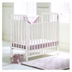 Sapling Space-Saver Height-Adjustable Cot & Mattress - drop side for easy access