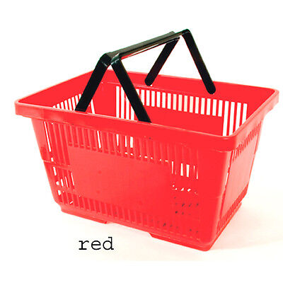 """12 Red Plastic Shopping Baskets Retail Store Tote 17"""" L x 11.5"""" W x 9 H"""