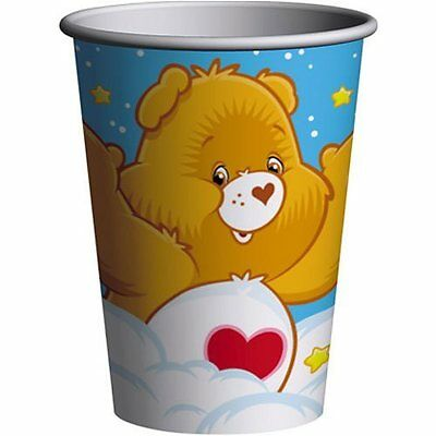 Care Bear Party Supplies (CARE BEARS Rainbow 9oz PAPER CUPS (8) ~ Birthday Party Supplies Beverage Drink)
