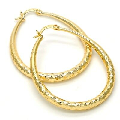 Diamond Cut Women's Medium Real Gold Plated Teardrop 1.5