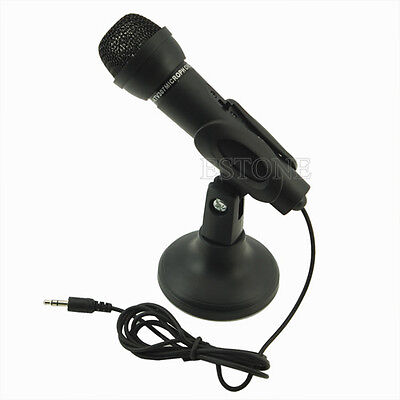 Black 3.5mm Mini Studio Speech Mic Microphone w Stand NEW