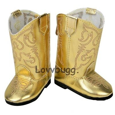"Lovvbugg Gold Cowboy Cowgirl Western Boots for 18"" American Girl or Boy or Bitty Baby Doll Shoes"