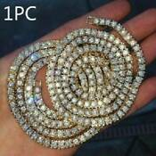 Crystal Diamond Gold Silver 1 Row Men Hip Hop Tennis Necklace Choker Chain Gift