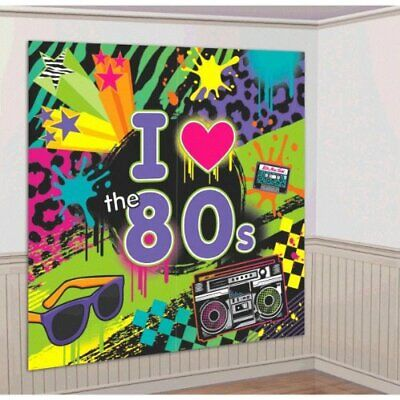 I Love The Headline 80S Themed Party Wall Scene Setter Decoration Kit 2 Piece (80s Party Themes)