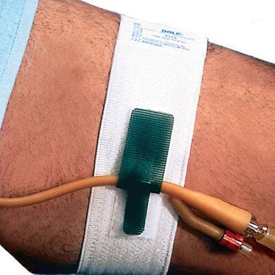 2 foley catheter leg straps or holding tubing going to leg