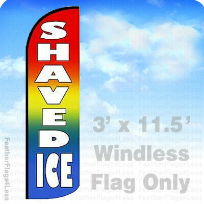 Shaved Ice - Windless Swooper Flag Feather Banner Sign 3x11.5 Rainbow Wf0019