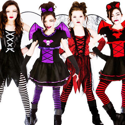 Halloween Girls Fancy Dress Up Horror Vampire Fairy Scary Kids Childrens Costume (Scary Kids Halloween Costumes For Girls)