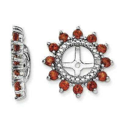 Platinum Sterling Silver Genuine Diamond & Garnet Halo Earring Jackets For (Sterling Silver Earring Jackets For Diamond Studs)