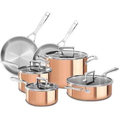 Aluminum Copper Saute Pan - 10-Pc Induction Copper Aluminum Skillet Saute Sauce Pan Stock Pot Cookware Set