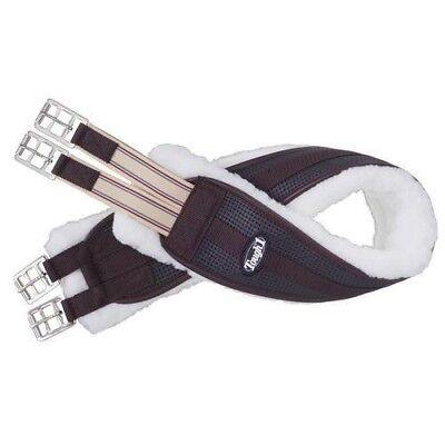 EquiRoyal Shaped Fleece Lined English Girth with Elastic End and Roller Buckles (English Girth)
