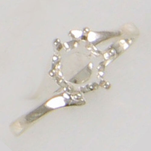 PRE-NOTCHED 7MM ROUND SOLITAIRE RING .925 STERLING SILVER SIZES 5-9 CR105SS