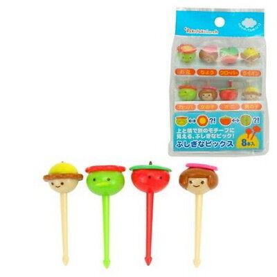Plastic Face Shape Food Fruit Bento Box Picks 8pcs #8124