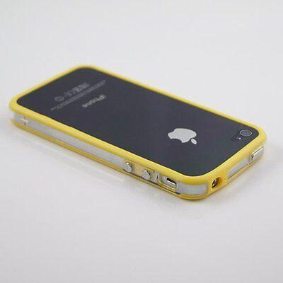 65588270a9d FUNDA CARCASA BUMPER AMARILLA-TRANSP.PARA IPHONE 4-4S+PROTECTOR PANTALLA