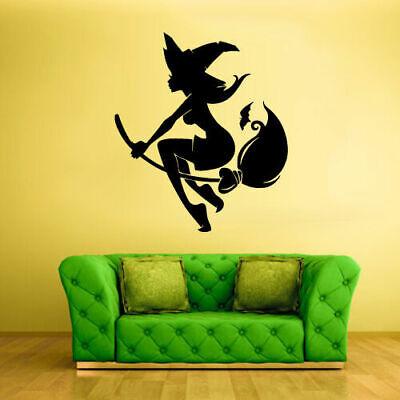 Wall Vinyl Sticker Decal Cartoon Halloween Funny Witch Hag Beldam (Z2468) - Funny Witch Halloween Cartoons