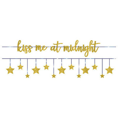 NEW YEAR'S EVE Kiss Me At Midnight BANNERS (2) ~ Birthday Party Supplies Glitter