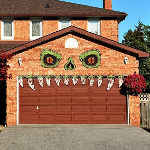 Halloween Monster Face Outdoor Decoration with Eyes Fangs Nostril Garage Door A