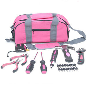 NEW 25PC PINK LADIES TOOL SET KIT IN BAG SCREWDRIVER LADY CARRY HANDLE RATCHET