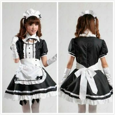 NEW Japanese Girl Maid uniform Cosplay lolita Costume Dress for Size;S-M-L-XL (Maid Costumes For Kids)