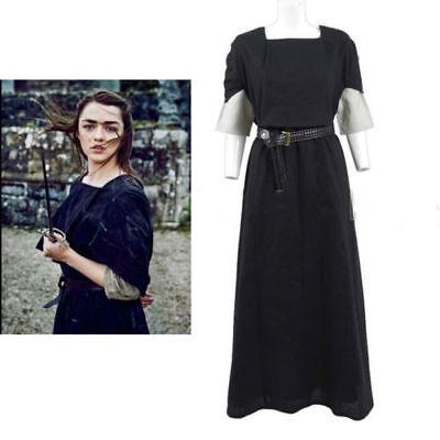 Game of Thrones Arya Stark Cosplay Costume Black Woman Dress:Free - Game Of Thrones Arya Costume