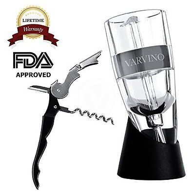 Deluxe Waiters Corkscrew - Varvino Deluxe Wine Aerator Decanter with Waiters Corkscrew and Foil Cutter - In