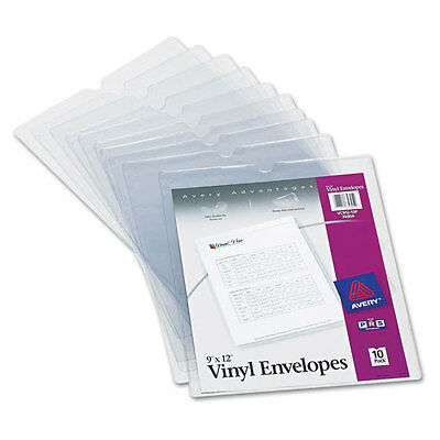 Avery Top-load Clear Vinyl Envelopes Wthumb Notch 9 X 12 Insert Size 10pack