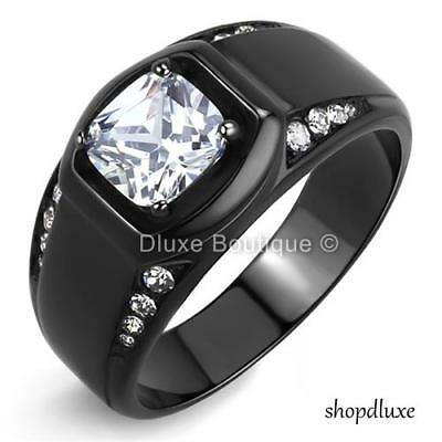 MEN'S 2.15 CT CUSHION CUT SIMULATED DIAMOND BLACK STAINLESS STEEL RING SIZE 8-14