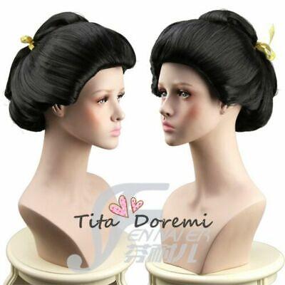 Halloween Wig Costume Japan Geisha Black kurze Cosplay Heat Resistant - Geisha Halloween Hair