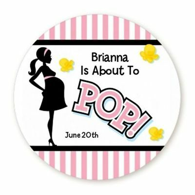 About To Pop Pink - Round Personalized Baby Shower Sticker Labels - 6 sizes
