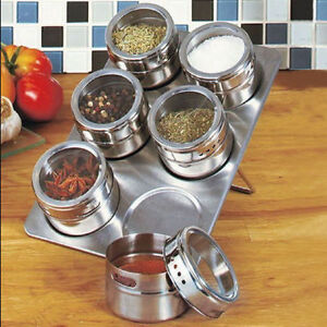 7 in 1 Magnetic Spice Jar Set Rack Holder Seasoning Container Condiment Storage