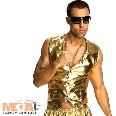 Gold MC Vest Mens Fancy Dress 80s Rapper Hammer Time Adult Costume Accessory - Hammer Time Costume