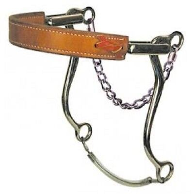 """Horse Fleece Padded Black Leather SS Engraved Hackamore 7/"""" Cheeks 35H39"""