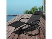 Black sunlounger (brand new, boxed) - 'Moon Rocker' Lounger Garden Chair with Pillow