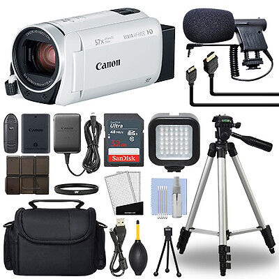 Canon VIXIA HF R800 Full HD Camcorder HFR800 White 57x Advance Zoom+ 32GB Bundle