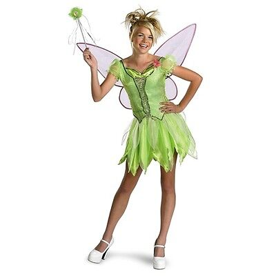 Tinker Bell Disney Fairy Pixie Green Cute Dress Up Halloween Teen Child - Cute Tinkerbell Costumes