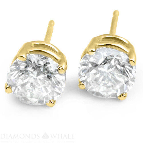 2 Ct Round Cut, Vs2/d Enhanced Diamond Stud Wedding Earrings 18k Yellow Gold