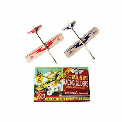 REAL FLYING RACING GLIDERS TWIN PACK BALSA WOOD JUST CLIP TOGETHER 50FT -