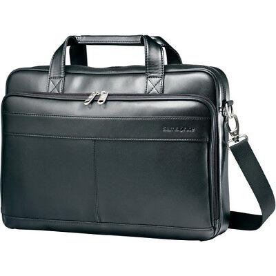 "Samsonite Leather Slim Briefcase w/ 15.6"" Laptop Pocket in Black"