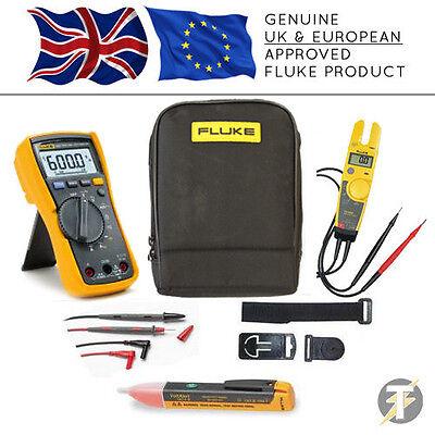 Fluke 115 True Rms Multimeter Kit97t5-600 Voltage Testertpak31ac And Custodia