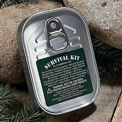 10 LOT SET SURVIVAL KIT IN A SARDINE CAN CAMPING HIKING BOY CUB SCOUT 25 ITEMS