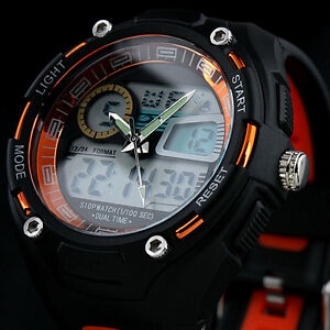 Men's Sport Man Digital Analog Light Rubber Mens Quartz Wrist Man's Sports Watch