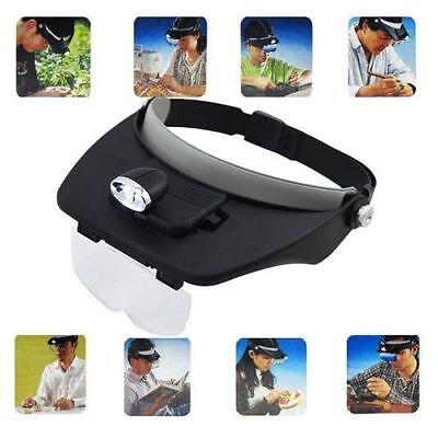 Lupenbrille Stirnlupe Kopflupe Brillenlupe mit 4 Vergrößerungs LED Linsen Licht